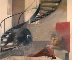 """Saatchi Art Artist Nicola Pucci; Painting, """"bull coming down the stairs  SOLD"""" #art"""