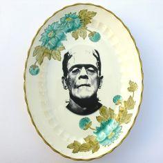 Frankenstein Portrait Plate - Altered Vintage Plate
