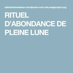 RITUEL D'ABONDANCE DE PLEINE LUNE