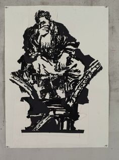 Available for sale from Lia Rumma, William Kentridge, Jeremiah Indian ink and torn black paper on Hahnemuehle paper Jeremiah 1, Black Paper, Michelangelo, Artsy, Darth Vader, Batman, African, Animation, Ink