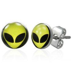 Alien Face 7mm Men's Stud Earrings In Stainless Steel