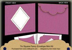 Cerise Dotty Diamond 7x7inch Easy Envelope Mini Kit on Craftsuprint - Add To Basket!