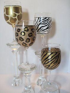 Set Of 4 Animal Print Painted Wine Glasses by KudosKitchenByRenee, $108.00