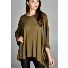 """""""Antigone"""" Asymmetrical Loose Kimono Top Kimono poncho top with low sleeves. Available in burgundy and olive. This listing is for the OLIVE. Brand new. True to size. NO TRADES. 95% rayon 5% spandex. Bare Anthology Tops Tees - Short Sleeve"""
