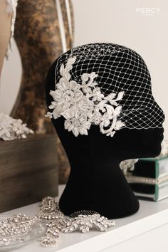 Ivory Lace birdcage veil by Percy Handmade