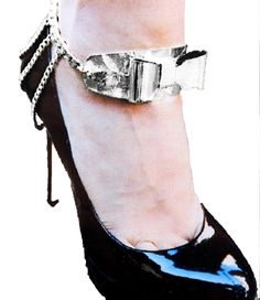 Bow Shoe Chain - Anklet / AZFJBT018-SIL ** See this great image  : Anklets Jewelry