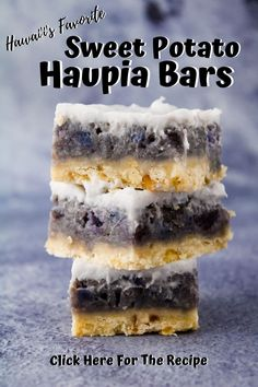 Sweet potato haupia pie bars are a favorite dessert here in Hawai'i. Crumbly shortbread crust with a sweet potato filling topped with a soft set haupia. You won't want to pass this up. Sweet Potato Haupia Pie Recipe, Haupia Recipe, Sweet Potato Recipes, Hawaiian Dessert Recipes, Best Dessert Recipes, Easy Desserts, Delicious Desserts, Ube Recipes, Frozen Desserts
