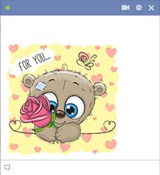 Send someone on Facebook a sweet reminder of love with this charming teddy bear offering a rose.