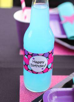rockstar birthday party  rock star girl table setting water bottle label