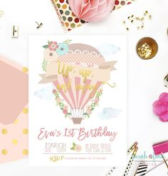 Hot Air Balloon Birthday Invitation, Up up and Away, Hot Air Balloon Party, Balloon Invitation, Printable, Girl, First Birthday, Photo