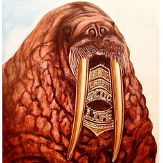 """This artist has humor in all his work. """"Walrus grill."""" Painting by @travis_chapman_artist on Instagram, pinned via the InstaPin iOS App! http://www.instapinapp.com (12/06/2014)"""
