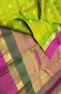 Green Handloom Kanjeevaram Pure Silk Saree Saree Jacket Designs, Lehenga Designs, Blouse Designs, Kanjivaram Sarees Silk, Pure Silk Sarees, Ethnic Sarees, Indian Sarees, Mac Media Lipstick, Ruby Jewelry