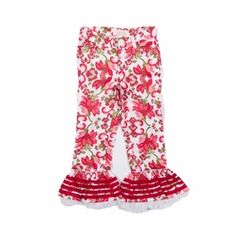 Trish Scull Child Christmas Floral Ruffled Pant-Designer Girl Clothes only $56.00 - New Items