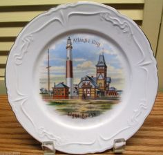 Vintage Souvenir Collector Plate Atlantic City Lighthouse Made in Germany