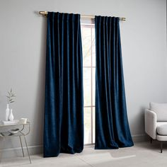 Textured Upholstery Velvet Curtain, Regal Blue, at West Elm - Window Treatments - Home Decor - Wall Decor Velvet Curtains Bedroom, Blue Velvet Curtains, Blue Curtains Living Room, Navy Blue Curtains, Drapes Curtains, Blackout Curtains, Neutral Bedroom Decor, Blue Bedroom, Bedroom Wall