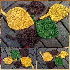 Lindevrouwsweb: Herfst Bladeren Crochet Pumpkin, Crochet Fall, Knit Crochet, Knitting Yarn, Knitting Patterns, Crochet Patterns, Crochet Leaves, Crochet Flowers, Harvest Crafts