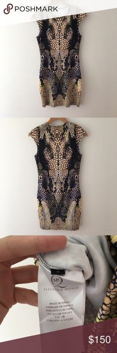 Alexander McQueen Snake Print Dress Alexander McQueen snake print dress with capped sleeves that is just so flattering. Size medium but will also fit size small. No size tag on the top as it was too itchy. Alexander McQueen Dresses Midi