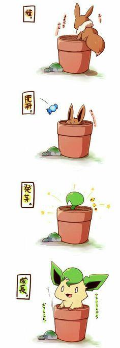 Eevee, Leafeon, cute, chibi, text, comic, flower pot, candy, evolution; Pokémon