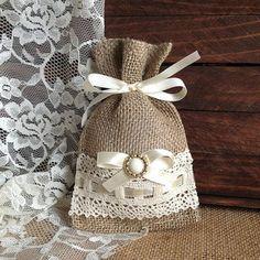 lace covered burlap favor bag, wedding, bridal shower, tea party gift bag