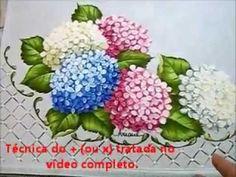 Folha da Hortênsia - Hydrangeas - Pintura em Tecido
