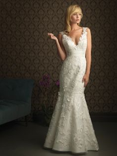 Sexy Trumpet Deep V-neck Lace Straps Sweep Wedding Dress w/ Appliques & Buttons