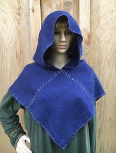 Viking Hood ~  Linen Hood ~ Dark Indigo Hood for Historical Re-enactment~ SCA Hood~Skjoldehamn Hood- Larp Hood  $60