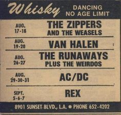 Concert schedule for the Whiskey in 1977.