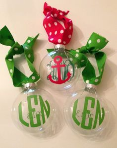 Monogrammed Christmas Ornament personalized and custom made with your choice of colors monogram and designs