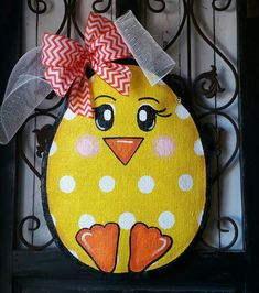 Cute polka dot chick Great for Easter door decor READY to hang right from the box Sprayed with acrylic sealer to help protect from the weather Lightweight Measures 16 inches wide and 18 inches tall ©2015 Connie Risley Crafts