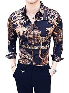 Men's Daily Going out Luxury / Vintage Slim Shirt - Animal / Tribal Classic Collar Brown XL / Long Sleeve / Summer 2019 - € Cheap Mens Shirts, Cool Shirts For Men, Mens Shirts Online, Moda Fashion, Suit Fashion, Fashion Shirts, Cheap Mens Fashion, Stylish Mens Outfits, Mens Clothing Styles