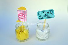 Movie Night Cupcake Toppers #MovieNight #Movie #Ticket #Popcorn #Cupcake #Topper #Party Movie Party, Cupcake Toppers, Popcorn, Canning, Ticket, Handmade Gifts, Desserts, Etsy, Night