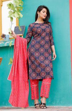 Women Indian Palazzo Kurta Set Cotton Dupatta Pakistani Salwar Kameez Combo Set Multi Color kurti By Heritage Hub