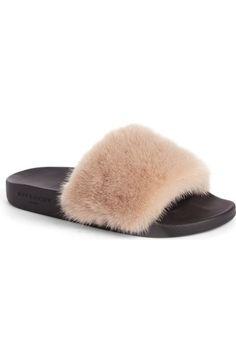 GIVENCHY Genuine Mink Fur Slide Sandal (Women). #givenchy #shoes #sandals