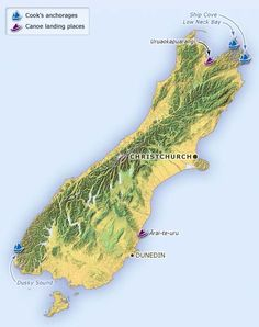 This map shows the first landing places of the South Island canoes and the three sites where James Cook stepped ashore on the South Island. Two of these places, Dusky Sound and Ship Cove in Queen Charlotte Sound, were also visited by Cook on his second and third voyages.