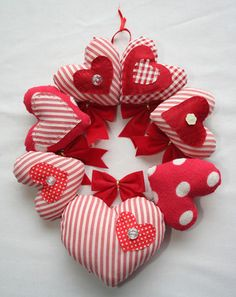 Red Gingham & Candy-Stripe Padded Hearts Wall-Hanger
