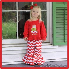 Stacked Presents Ruffle Pant Set in Red Chevron by juliesonny, $45.00