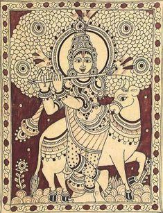 Kalamkari or Kalamkari. Kerala Mural Painting, Ganesha Painting, Indian Art Paintings, Madhubani Painting, Kalamkari Painting, Mandala Art Lesson, Madhubani Art, Indian Folk Art, Cow Art