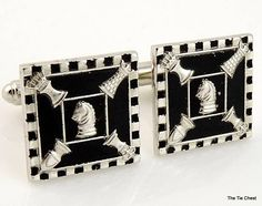 Fun pair of cufflinks for the chess player! Vintage Silver Tone Chess Cuff links | The Tie Chest