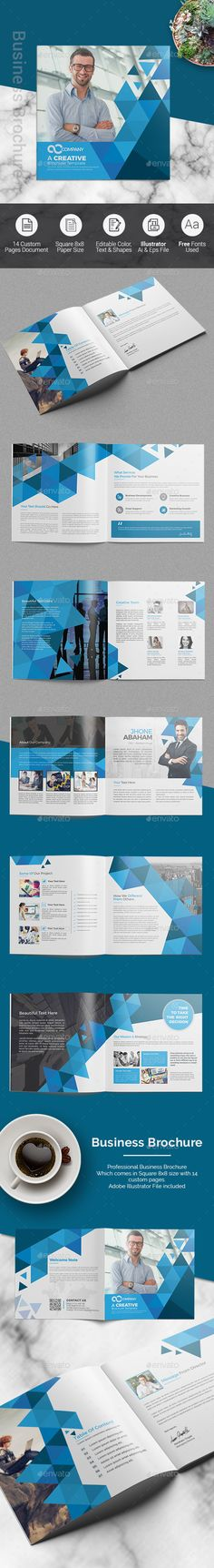 Square Business Brochure Template Vector EPS, AI Illustrator
