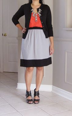 Color block dress with the bubble necklace!