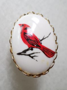Vintage Porcelain and Gold Tone Red Cardinal Bird Brooch. by Bestintreasures on Etsy