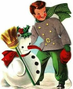 "Boy & Snowman. ~~  FB Page ""Holiday Spirit All Year Long"""