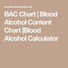 BAC Chart | Blood Alcohol Content Chart |Blood Alcohol Calculator