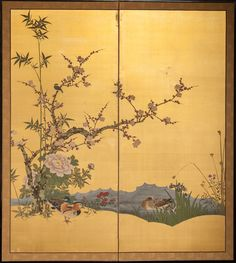 Japanese Screen: Peony, Plum and Bamboo with Wood Ducks on Gold Silk | Naga Antiques