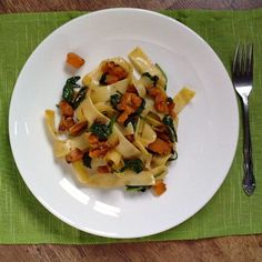 sweet potato and spinach pasta