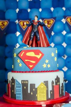 Pleasant Emotions with Superman Birthday Party : Superman Birthday Party Decorations. party for boys,party for teens Superman Party, Superman Cakes, Superhero Birthday Party, Boy Birthday Parties, Birthday Party Decorations, Birthday Cake, Bebe 1 An, Childrens Party, Party Ideas