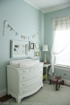Love the color scheme in here. So relaxing. Love the pendant banner so much!