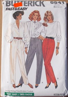 Butterick 6841 Vintage 80s Sewing Pattern - Women's Pants, Miss 12-14-16 3 versions 80's tapered pants with mock fly zipper. Pants A have contour waist and no waistband. Pants B,C have waistband. Pant