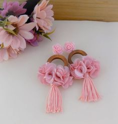 Your place to buy and sell all things handmade : Pink Wood Earrings Light Cherry Blossom Salmon Pale Rose Diy Thread Earrings, Diy Lace Earrings, Wood Earrings, Big Earrings, Earrings Handmade, Fabric Jewelry, Diy Jewelry, Jewelry Making, Jewellery