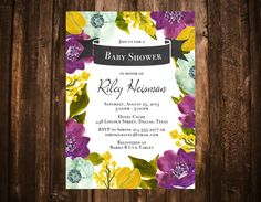 Purple & Teal Floral Baby Shower Invitation by papernpeonies